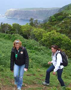 Hiking with a spectacular backdrop on the island of Flores.