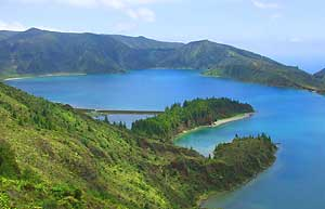 Lagoa Do Pogo sits at the top of a mountain on the island of Sao Miguel.