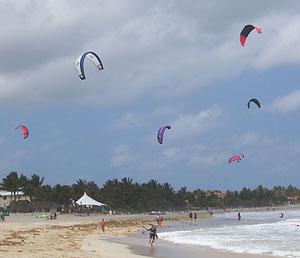 Kiteboarding is the main event on Cabarete's beaches.