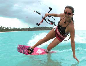 World champion kiteboarder Laurel Eastman teaches the sport at her school in Cabarete.