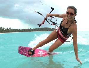 World champion kiteboarder Laurel Eastman teaches the sport at her school in Cabarete.