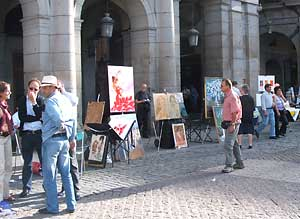 Art vendors in the Plaza Mayor