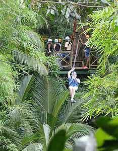 Ziplining on St Lucia.