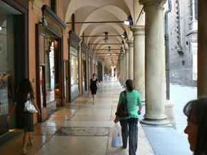 Strolling under the Porticos, more than 12 km long, in the city of Bologna. photos by Max Hartshorne.