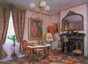 The parlor of the Farnsworth Homestead