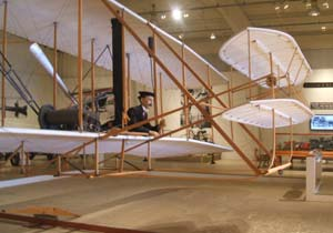 A replica of the Wright Brothers' first successful airplane