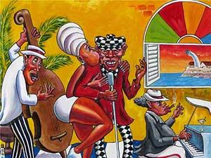 A mural showing the Buena Vista Social Club