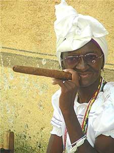Enjoying one of Cuba's famous cigars