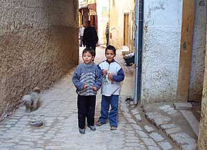 Moroccan boys in the cobblestone streets