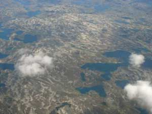 An aerial shot of Greenland