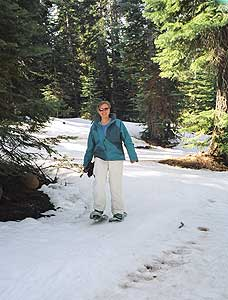 The author snowshoeing at Northstar