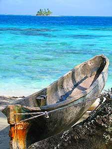 A dugout canoe in Panama