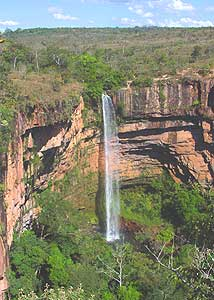 The Bride's Veil, a waterfall in the Chapada National Park in Brazil