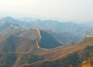 The Great Wall of China at Simatai snakes off into the distance.