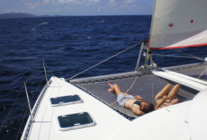 Aboard the catamaran in the Tobago Cays