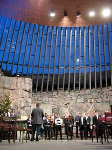 Helsinki Rock church built out of solid rock and covered with a concave copper roof