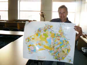 Dean Stewart teaches students about the 250 aboriginal languages once spoken on the continent.