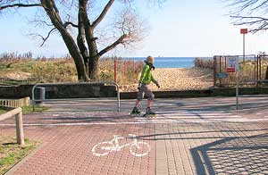 There are endless bicycle, roller skating and walking lanes along the beach in Sopot – pleasingly empty out of season.
