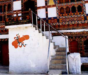 Flying phalluses are often painted on Bhutanese houses to honor 'The Divine Madman' Drukpa Kinley.