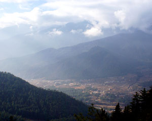 A view of the Paro Valley from the trail