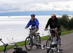 Riding bicycles on the Swiss shore of Lake Constance