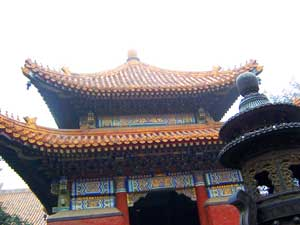 A traditional Chinese curved roof