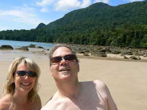 Max and Sony at a beach on the South China Sea