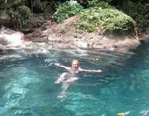 The author enjoys the deep blue waters at Reach Falls - photos by Sarah Hartshorne
