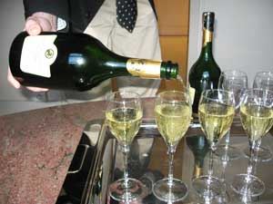 A $180 bottle of 1998 Taittinger Comtes de Champagne being poured for our tasting.
