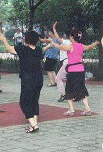 Grannies dancing in the park