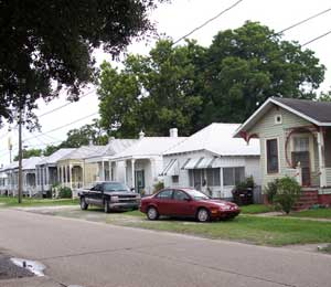A street lined with shotgun houses in Donaldson, Louisiana - photos by Kelly Westhoff