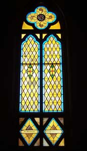 A stained glass window in the Church of the Acsension of Our Lord