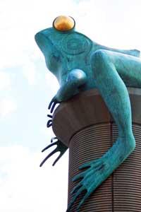 The Thread City Crossing Frog Bridge in Willimantic