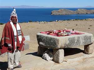 A shaman on the Island of the Sun