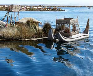 A reed boat in Urcos on Lake Titicaca - photos by David Rich