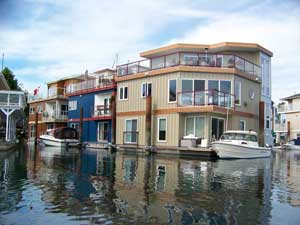 Floating houses in Victoria Harbour