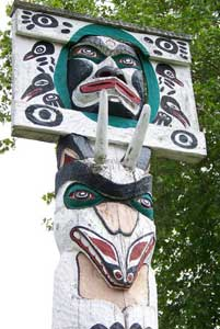 One of 26 totem poles in Duncan, Vancouver Island