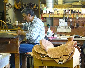Making a saddle at the J.M. Capriola Company in Elko