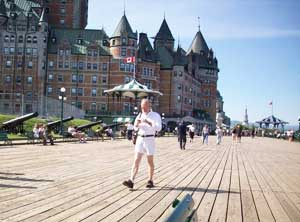 Every visitor to Quebec takes a walk along the Dufferin Terrace ramparts – whether he's staying at the Chateau Frontenac or not. Photo: Mary O'Brien