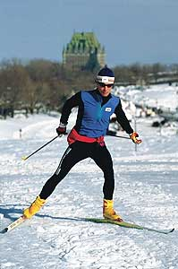 In winter, cross-country skiers are common on city streets. Photo: Productions de'oeil