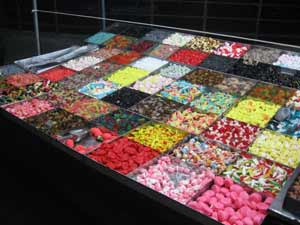 Candies on display.
