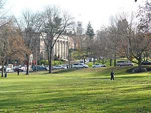 The town common with Amherst College in the background