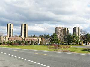 High-rise dormitories at the University of Massachusetts house more than 20,000 students.