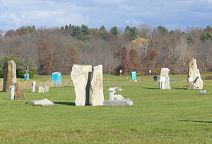 Standing stones and porta-potties -- the mini Stonehenge by McGuirk Stadium at the University of Massachusetts