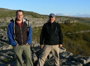 The author with son Sam at the summit of Malham Cove in the Yorkshire Dales - photos by Max Hartshorne