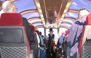 The observation car on the Grand Canyon Railway