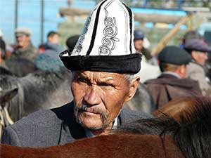 A horse trader at the market in Osh
