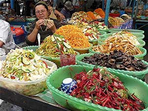 The salad lady at a market in Kyrgyzstan