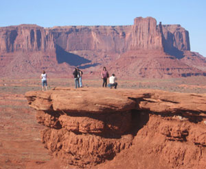 Visitors take in the grandeur of Monument Valley.