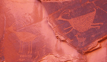Anasazi petroglyphs in Monument Valley